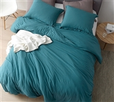 Extra Large Twin, Queen, or King Comforter in Stylish Teal Shade with Weighted Glass Bead Fill