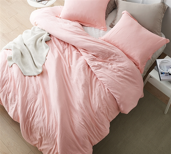 Extra Large Twin Comforter with Comfy Weighted Beads and Soft Microfiber in Stylish Rose Pink Color