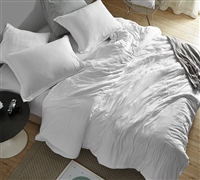 Extra Large White Queen Weighted Comforter with Cozy Microfiber Material and Machine Washable Cover
