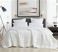 Extra Large Twin, Queen, or King Comforter with Weighted Fill and Easy to Match White Exterior