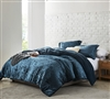Beautiful Champagne Navy Velvet Plush Twin, Queen, or King Extra Large Comforter with Shams