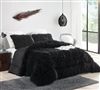 Twin, Queen, or King Oversized Comforter Made with Soft Microfiber and Black Plush Faux Fur Material