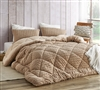 Tan Puppy Love Faux Fur Plush Comforter with True Extra Large Full Bedding Dimensions