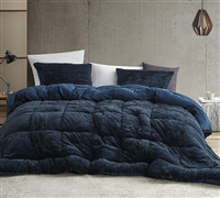 Stylish Navy Blue Twin XL, Full XL, Queen XL, or King XL Comforter Made with Machine Washable Plush and Microfiber