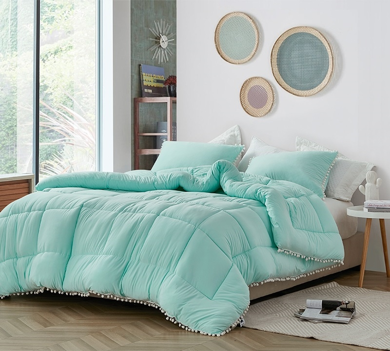 Fashionable Teal Extra Large Twin Queen Or King Bedding With Unique Tassel Details And Cozy Microfiber Material