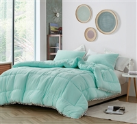 Oversized Twin XL Bedding with Unique Teal Shade and Tassel Design made of Coziest Microfiber and Spandex Material