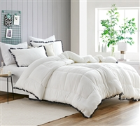 Easy to Match Cream Extra Large Full Comforter with Cozy Plush Microfiber Material and Stylish Black Tassel Details