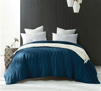 One of a Kind Modal Cooling Twin XL Oversize Quilt Stylish Nightfall Navy Extended Extra Long Twin Bedding with Unique Wave Pattern