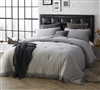 Gray King Oversized Comforter with Textured Edging Gray Jersey Knit King XL Bedding