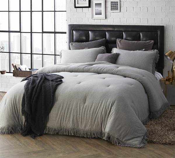 Gray Queen XL Comforter Comfortable Jersey Knit with Textured Edging Oversized Queen Bedding
