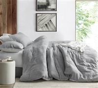 Waffled Gray - Oversized Queen Duvet Cover