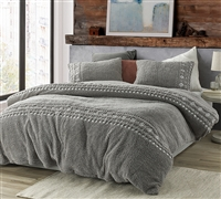 Teddy Stitch - Coma Inducer Duvet Cover - Gray and White Embroidery