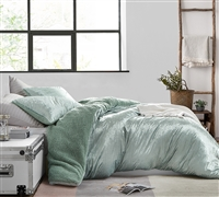 Velvet Crush - Coma Inducer King Duvet Cover - Crinkle Iced Green
