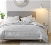 Easy to Match White King Extra Large Comforter with Stylish Black Textured Lines and Super Soft Cotton Material