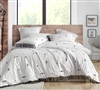 Unique White Extra Large King Comforter with Dark Gray Print and Tassel Details with Super Soft Cotton