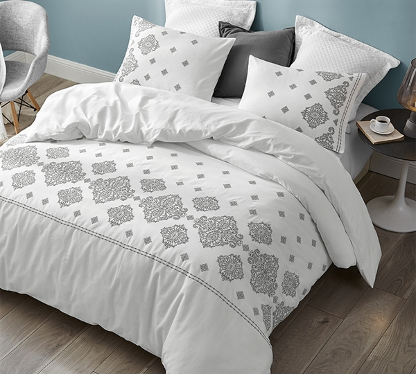 Super Soft Cotton Oversized Twin XL White Comforter with Fashionable Gray Embroidered Details