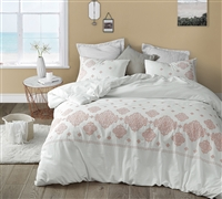 Extra Large White King Comforter with Stylish Embroidered Coral Detailing and Comfy Cotton