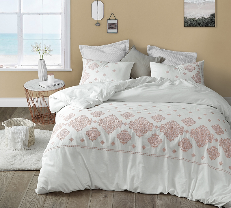 Unique White And Coral Embroidered Bedding With Coziest Cotton Oversized King Bedding
