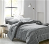 Extra Large Queen Comforter with Stylish Easy to Match Gray Textured Material and Soft Cotton
