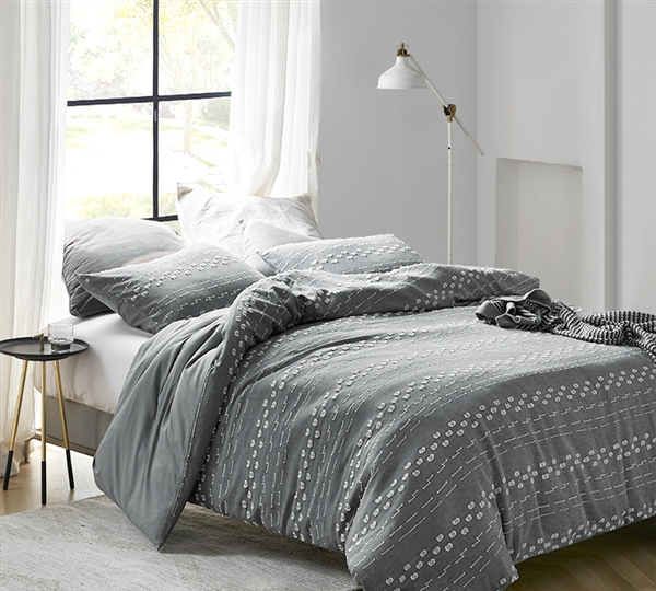 Conceptual Gray Textured Queen Comforter