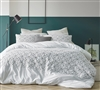 Oversized Queen Comforter in Stylish White and Gray Embroidered Textured Details and Cozy Cotton Cover