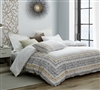 Stylish Gray and Yellow Stitched White Oversized King Comforter with Super Soft Cotton Material