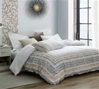 White Extra Large Queen Comforter with Stylish Gray and Yellow Stitched Design and Cozy Cotton