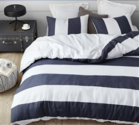 Bold Navy Blue Striped Extra Large King Comforter with Thick Warm Cozy Cotton Material