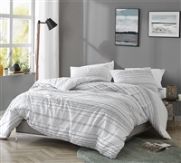 Unique Oversized King Duvet Cover in Stylish White with Black Textured Line Pattern and Cozy Cotton
