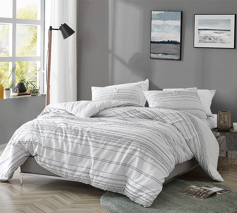 Extra Large King Bedding With Soft Cotton And Unique Textured Line Pattern With Machine Washable Materials