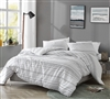 Oversized Queen Duvet Cover with Simple White Color and Black Textured Striped Design