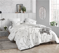 White and Dark Gray Textured Oversized Queen Bedding with Unique Tassel and Embroidered Details