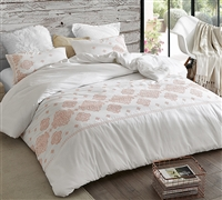 Unique White and Coral Embroidered Oversized King Duvet Cover with Cozy Cotton Machine Washable Material