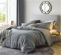 Extra Large Queen Duvet Cover in Neutral Gray with Unique Textured Details and Cozy Cotton Material