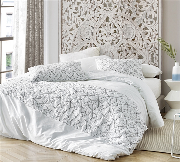 Oversized Easy to Match White and Gray Textured Queen Duvet Cover with Extra Cozy Cotton Material