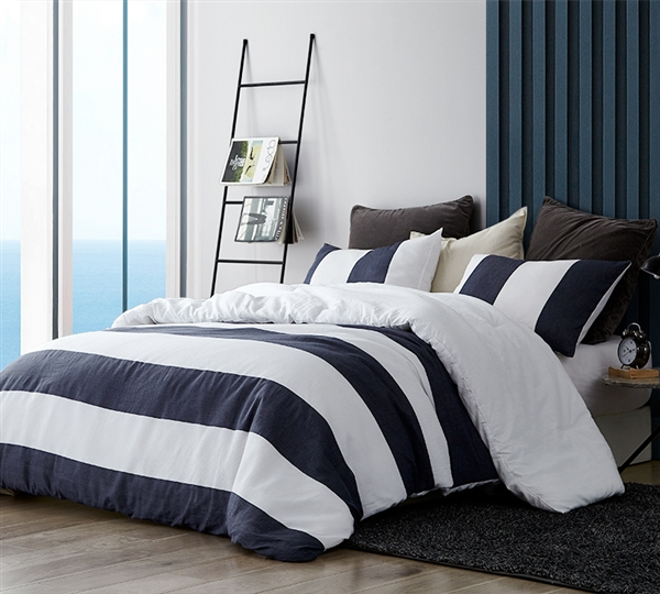Extra Soft Cotton Oversized King Duvet Cover with Bold Navy and White Striped Print and Matching Shams