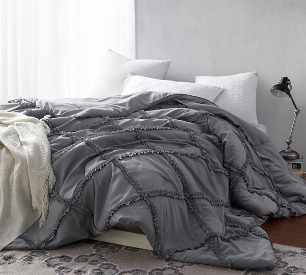 Stylish Gathered Ruffles Alloy Gray Oversized Full Quilt One of a Kind Handcrafted Series Comfortable Full XL Bedding