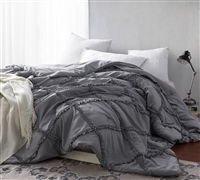 Gray Alloy Oversized Queen Comforter Unique Handcrafted Series Gathered Ruffles Stylish Queen XL Comforter