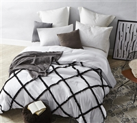 Oversized Full XL Bedding Unique Handcrafted Series Gathered Ruffles Black on White Textured Extended Full Comforter