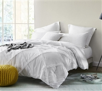 One of a Kind Handcrafted Series White Gathered Ruffles Oversized Full XL Comforter Soft and Comfortable Full XL Bedding
