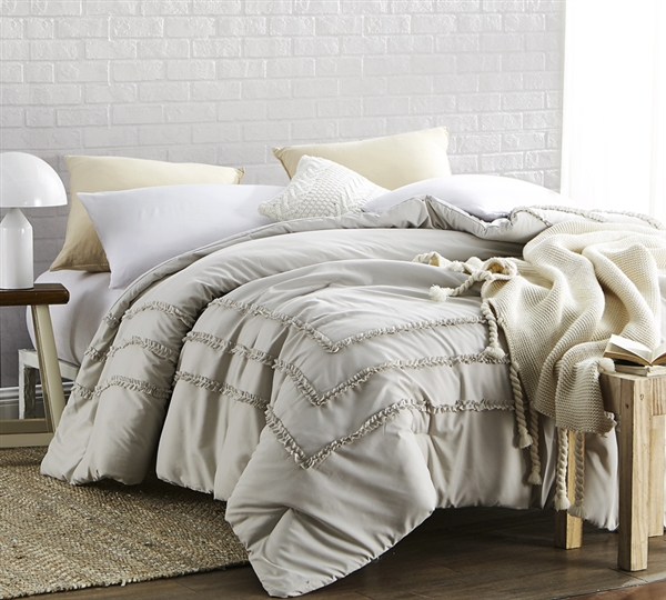 Oversized Queen Comforter Stylish Silver Birch Border Ruffles Handcrafted Series Neutral Khaki Beige Queen XL Bedding