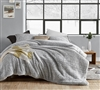 Luxurious Soft Sherpa and Polyester Extra Large Twin Comforter Set in Easy to Match Gray with Matching Shams