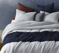 Tundra Gray Handcrafted Knit Extra Long Twin Oversized Comforter with Navy Jacquard Comfortably Soft Extended Twin XL Bedding