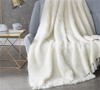 Nama Karoo - Hand Brushed Kid Mohair - Throw Blanket - Almond Butter