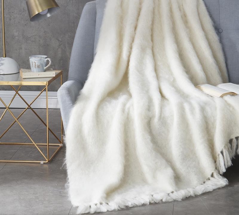 Nama Karoo Hand Brushed Kid Mohair Throw Blanket Almond Butter Delectable Mohair Throw Blankets