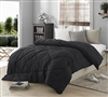 Extra Long Full Bedding Sets in Solid Black - Softest Comforters in Full XL
