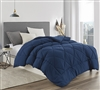 Extra Large Twin Bedding to Fit Twin or Twin XL Bed with Cozy Microfiber Material and Solid Navy Blue Color