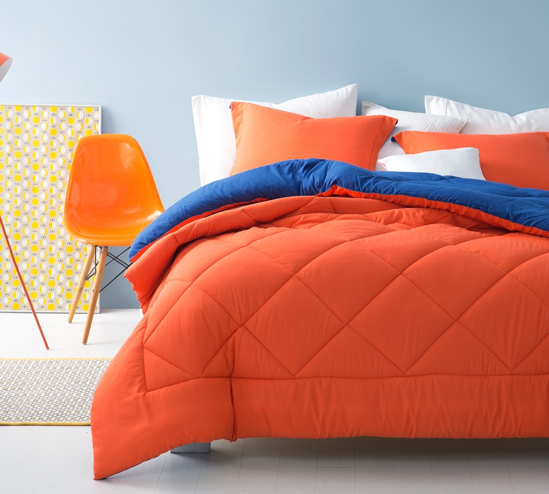 Orange/Blue Reversible Queen Comforter   Oversized Queen XL Bedding