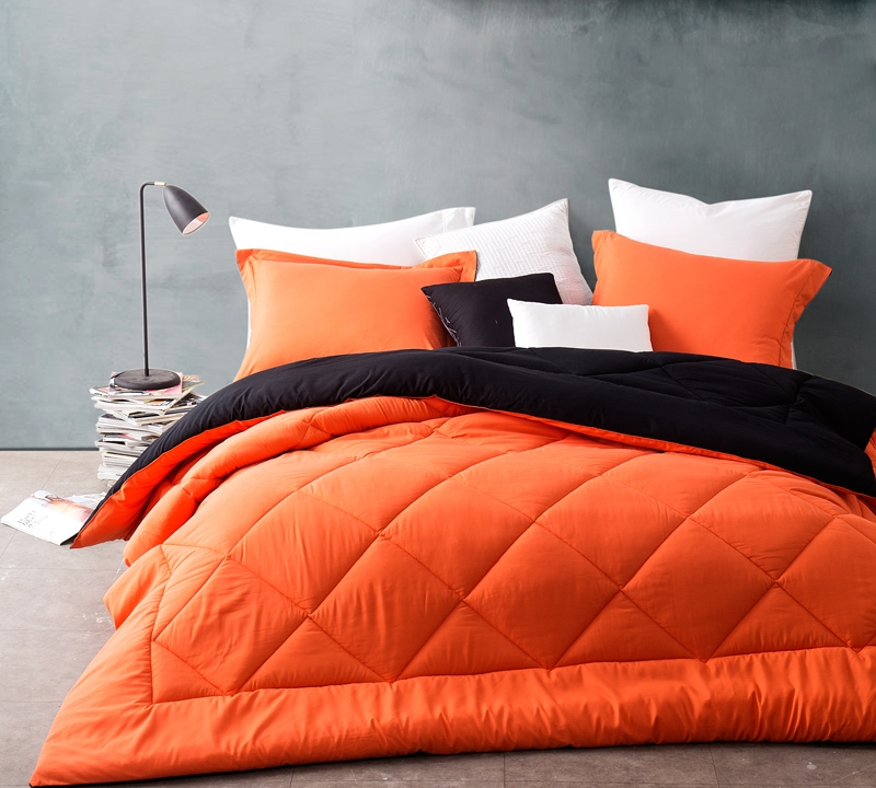 Top Selling Queen Size Bedding Comforter Sets Orange Black Bedding