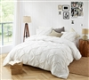 Elegant Pin Tuck Extra Large King Comforter in Easy to Match Off-White Shade and Stylish Matching Shams
